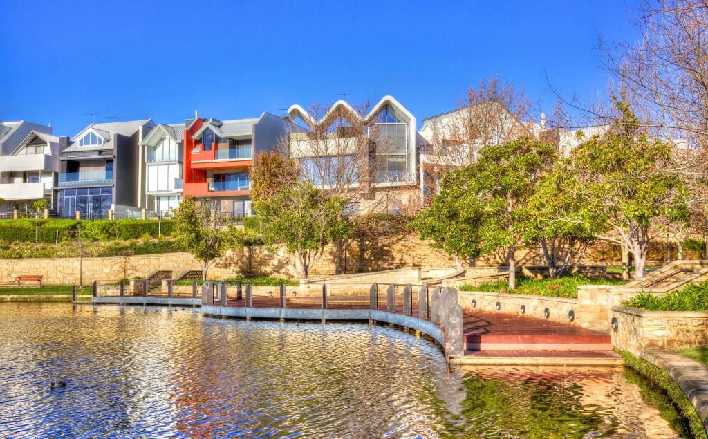 homes near a lake